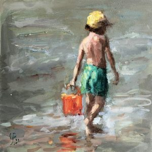 Yvonne Prinsen - Strandtafereel Jongen met oranje emmer