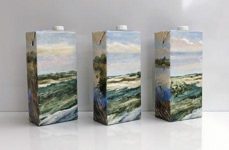 Bart Bosma - Melkpak met Fries landschap (drieluik)