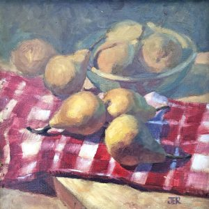 Janey Robertson - Pears on checkcloth