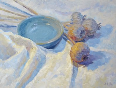 Janey Robertson - Green bowl and poppies
